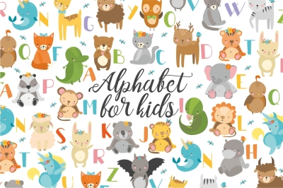 Alphabet with animals for kids