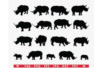 SVG Rhinos, Black silhouettes, Digital clipart