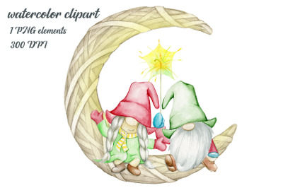 watercolor gnomes. christmas clipart. winter png. cute  gnomes clip ar