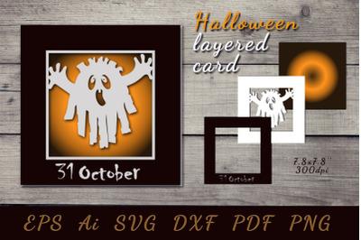 October 31. 3D postcard for Halloween. Cut file
