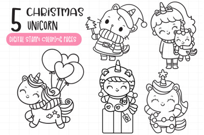 Christmas Unicorn digital stamp coloring pages Baby animals