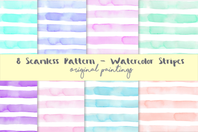 Watercolor Seamless Pattern Stripes Background