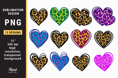 Leopard Heart Sublimation PNG, Bundle Hearts PNG Valentines