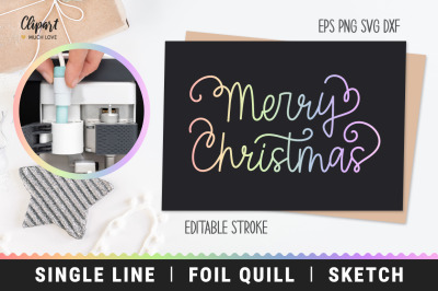 Foil Quill Merry Christmas Lettering SVG, DXF, Single Line