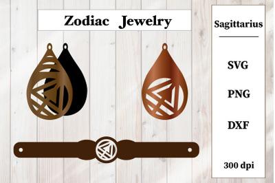 Set of jewelry. Zodiac sign. Sagittarius Earrings, Bracelet