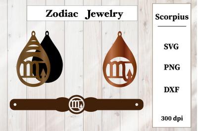 Set of jewelry. Zodiac sign. Scorpius Earrings, Bracelet