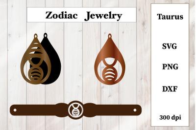 Set of jewelry. Zodiac sign. Taurus Earrings, Bracelet SVG