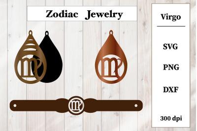 Set of jewelry. Zodiac sign. Virgo Earrings, Bracelet SVG