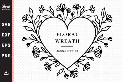 Flower Heart frame svg, Floral wreath svg, Wildflowers wreath SVG, DXF