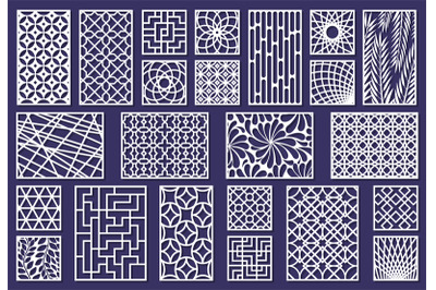 Laser cut template patterns, paper art or metal cutting panels. Abstra