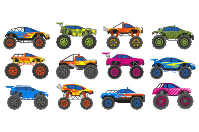 Monster heavy trucks, extreme race large wheels cars. Extreme show hea