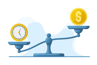 Time is money, scales weight balance, time and money concept. Libra sc