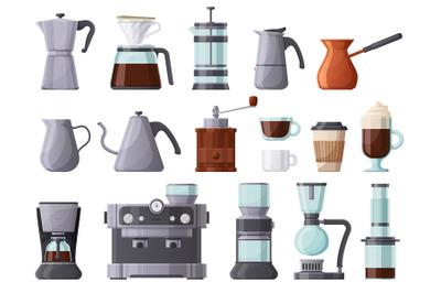 Coffee machines, french press, cezve, pot, aeropress and espresso mach