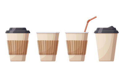 Coffee hot drink paper cups. Cafe, restaurant or take out coffee plast