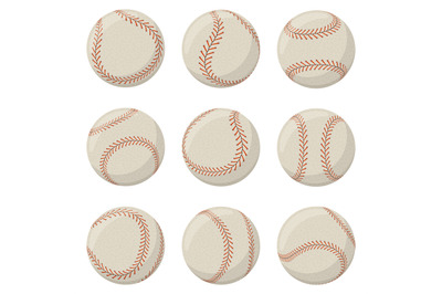 Baseball sport game ball with red lace stitches. Softball, baseball le