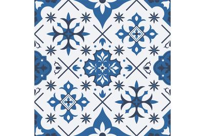 Traditional azulejo, talavera mediterranean ceramic tile seamless patt