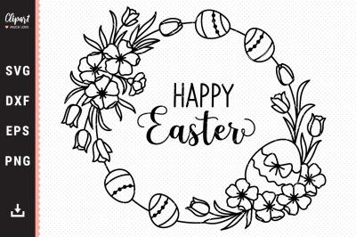 Easter wreath svg, Easter eggs Floral frame SVG, DXF