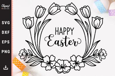 Easter svg, Easter wreath svg, Happy Easter egg SVG, DXF
