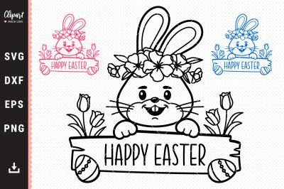 Easter bunny SVG, Easter Monogram Bunny face SVG, DXF