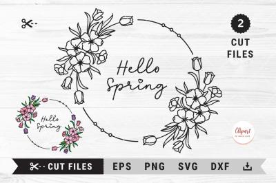 Spring floral wreath svg, Spring flowers monogram frame svg, dxf