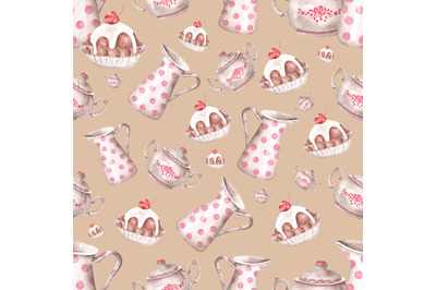 Baking watercolor seamless pattern. Cookbook, pastry chef