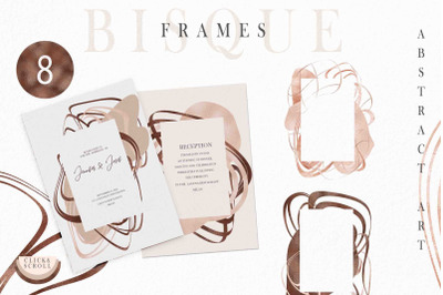 Abstract beige and blush pink frames clipart-8 png files