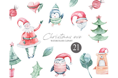 Watercolor Christmas clipart- 21 png files