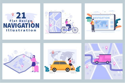 21 GPS Navigation Map and Compass Vector Illustration