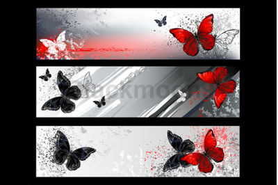 Banner with Red Butterflies