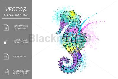 Painted Polygonal Seahorse