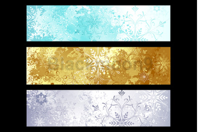 Shiny Banner with Christmas Snowflakes