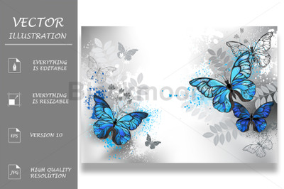 Blue Butterflies with Wild Plants