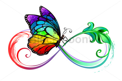 Infinity with Seated Rainbow Butterfly