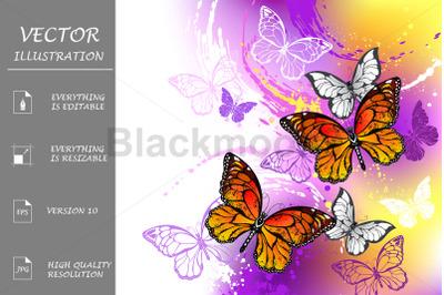Monarch Butterflies on Purple Background