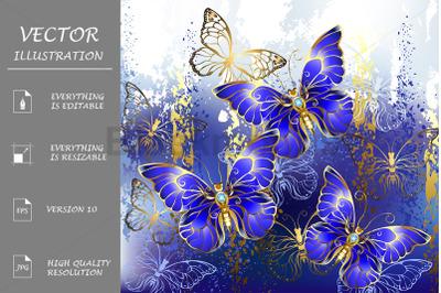 Three Sapphire Butterflies