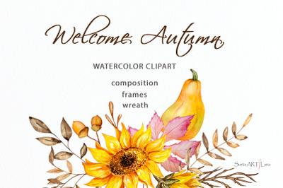 Autumn Watercolor Clipart, Fall Clipart