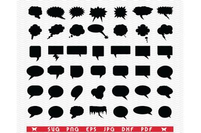 SVG Speech Bubble, Black silhouette, Digital clipart