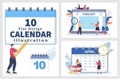 10 Calendar for Planning Work or Events Vector Illustration