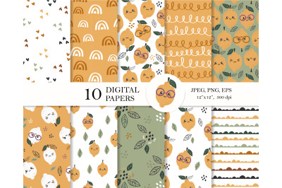 Lemon digital paper pack