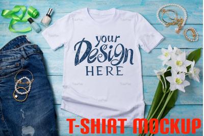 Womens T-shirt mockup with lilies and nail polish