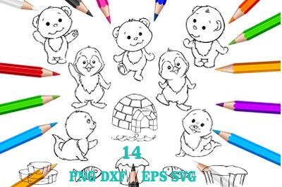 line art animals, polar bear, penguin, baby seal, clipart. baby seal,