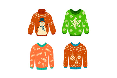 Knitted jumpers with christmas patterns. Xmas elements. Woolen ugly sw