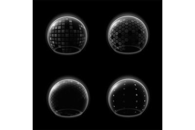Shields bubble. Transparent futuristic glossy sphere, safety energy ba