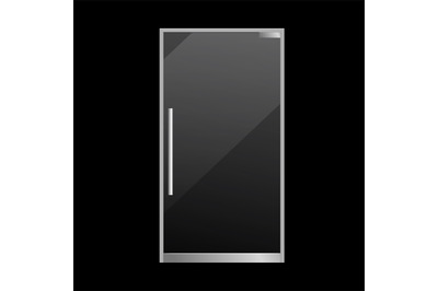 Closed glass door realistic. Exterior element. Transparent glossy mate