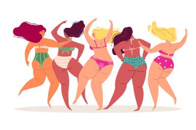 Swimsuits women. Back view body positive different bikini ladies, happ