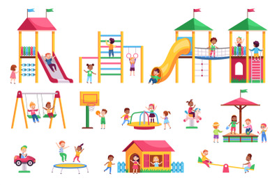 Kids playground. Children swing and slides garden, colorful bright rid