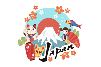 Welcome to japan. Tourist invitation banner, cultural symbols country,