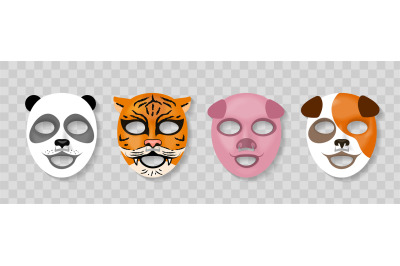 Cosmetic animal face mask. Skin caring cotton masks with funny animal