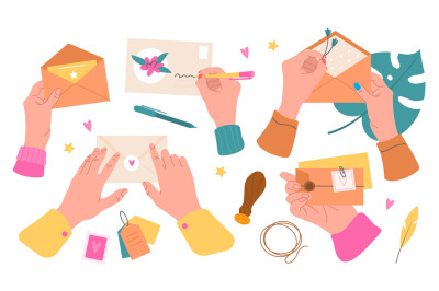 Postal envelopes with hands. Hand hold seal and sign post letters, put