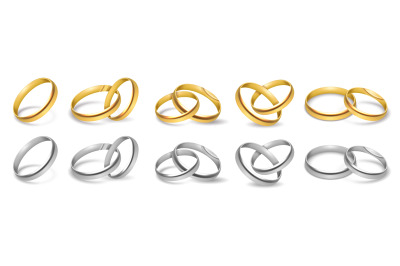 Wedding rings. White and yellow metal jewelry, married couple accessor